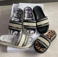 Daway Slide Bordado Slipper Slipper Mujeres Impresas Sandalias Chunky Parte inferior Toile De Jooy Motif inverso Flip Flops Outdoor Beach Shoe Multicolor US4-11