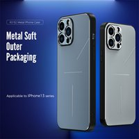Metal and TPU Phone Cases for Iphone 13 Pro Max 12 Mini 11 With Camera Protective Film Anti-vibration Anti-Drop Cover Soft Silicone Edging Lightweight comfortable