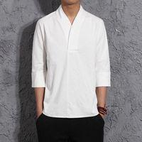 Men Harajuku Cotton Linen Tshirt 2021 Mens Summer Solid Streetwear Fashions White Tshirts Male T-shirts Men's