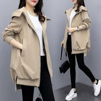 Spring Hooded Loose Trench Coats Womens Long Windbreakers Woman Casual Solid Female Black Khaki Overcoat Women Outwear
