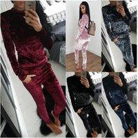 plus size 3XL Piece Set Women Sexy Pink Long Sleeve Top And Pants Bodysuit Suit Runway Fashion 2017 Trainingspak Velvet Tracksuit Two
