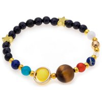 Beaded, Strands Guardian Star Eight Planets In The Solar System Charms Bracelets Woman Man Elastic Natural Stone Beads Bracelet&Bangle Jewel