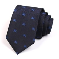 Bow Ties Brand Men Fashion Formal Dress Shirt Tie High Quality 7CM Navy Blue For Business Work Necktie With Gift Box