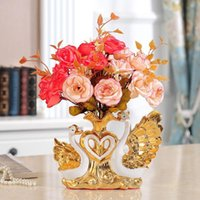 2021 Swan Vases Home Decoration Accessories Handicraft Wedding Living Room Wine Cabinet Desktop Creativity Flower Ceramic Vase