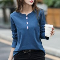 Women's T-Shirt 2021 100% Cotton T Shirt Woman Spring Fashion Long Sleeve V Neck Loose Korean Style Plus Size Women Shirts