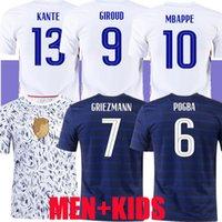 Euro 2020 tazza Mbappe Griezmann Francia Jersey di calcio Pogba Giroud Kante La Maillot de piede Maillots Camicia da calcio ENFANTS 2021 Francia 100 anni uomini donne kit bambini