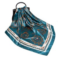 Foulards 90 * 90cm Mode Soie Satin Satin Echarpe Femmes Cou Cravate Sac Sac Double CaveRefefileur Muffler Hijab Lady Girl