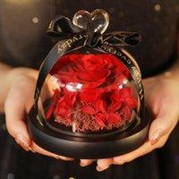 Dekorative Blumen Kränze Ewige Blume erhaltene Valentinstag-Geschenk Exclusive Rose in Glaskuppel mit Lichtern echte Mutter
