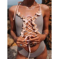 One-Piece Suits One Piece Swimsuit 2021 Summer Solid Sexy Bikini Set Women's Swimwear Ruffle Cross Bandage Halter Beachwear Bathing Wear