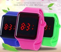 2021 Boys Girls Childrens Led Watch Creative Square Dial Fashion Luminous Watches Students Candy Color Jelly Electronic Digical Wristwatches
