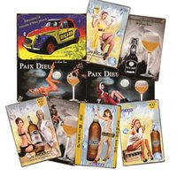 painting Ricard Pin-up Girl Jack Whisky Wall Stickers Metal Tin Sign Vintage Poster Decorative Plaques Retro Pub Bar Home Decor