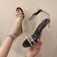 Sandals Rhinestone Tassel Design Women Fashion Transparent Heels Summer Sexy Party Prom Shoes Woman Dress