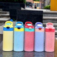 Sublimation Blanks Kids Bottle 12oz UV Color Changing Sippy Tumblers Stainless Steel Insulated Children Water Bottles