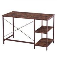 """مكتب كمبيوتر واكو، 47 """"طاولة أثاث مكتب مكتب المنزل، مع رف الكتب، الخشب والمعادن، غرفة العمل ستوردي للألعاب - الجوز الأسود"""
