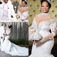 Plus Size Mermaid Wedding Dresses 2020 African Arabic High Neck Long Sleeve Lace Beadings Court Train Luxury Bridal Gowns