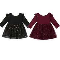 Girl's Dresses 2021 1-5Y Toddler Kids Girls Party Sequins Dress Long Sleeve Solid Wedding Bridesmaid Princess Flying