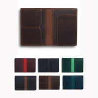 정품 가죽 여권 커버 빈티지 신용 카드 카드 케이스 홀더 유니섹스 여행 Bifold Wallet 선물 그를위한 XBJK2104