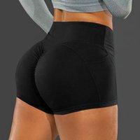 Running Shorts Summer Sport High Waist Elastic Seamless Fitness Leggings Ladies Push Up Gym Training Tights Yoga With Pocket