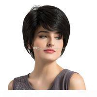Pixie Cut Natürliche schwarze menschliche Perücke Frauen Natürliche kurze Gerade Synthetische Perücken 6 '8' für Frauen Hitzebeständige weibliche Haare