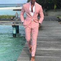 Moda Pembe Slim Fit Son Erkekler Takım Elbise Yaz Eğlence Düğün Smokin 2 Parça Balo İş Blazer Kostüm Homme