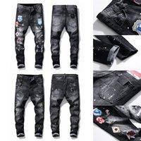 21 ss verkaufen Herren Designer Jeans Distressed Ripped Slim Fit Motorcycle Biker Denim Für Männer Mode Mans Black Hose