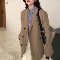Women's Suits & Blazers 2021 Spring Autumn Fashionable Oversized Women Casual Vintage Coat For Ladies Temperament V-neck Blazer