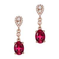 2021 Mode Rubis Gemstone Engagement de mariage Boucles d'oreilles pour femmes Sterling Silver 925 Boucle d'oreille de la bijouterie