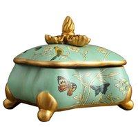 Caixa de jóia de cerâmica de estilo europeu esculpida mão com linhas suaves decoração decorativa qualidade de ingenuidade
