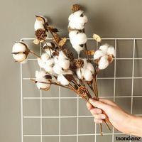 Decorative Flowers & Wreaths Naturally Dried Cotton Stems Farmhouse Artificial Flower Filler Floral Decor Fake DIY Garland Home Wedding