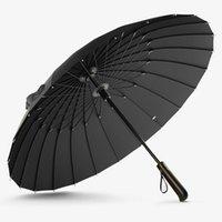 Guarda-chuvas 24k reta guarda-chuva forte à prova de vento alça de madeira longa chuva mulheres homens de negócios paraplu black golf sy22