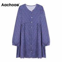 Casual Dresses Aachoae Loose Floral Print Dress O Neck Retro Mini Long Sleeve Single Breasted Pleated Women Autumn Summer