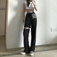 Moda Casual Calças de Carga Mulheres Hole Sweatpants Streetwear Cintura alta Slim Senhora Fitness Activewear Calças De Outono Mulheres Capris