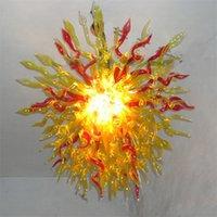 Украшение дома Современные лампы подвесные огни Италия красный и янтарный цвет ручной вручную стеклянный люстра 80 на 80 см Мурано люстры Спальня гостиная крытое освещение