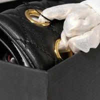 7A + Mode Frauen Schwarze Kalbsleder Taschen Original Echtleder Steppende Schulter Kreuz Body Tasche Geldbörsen, Offizieller Original Importiert Echtes Leder