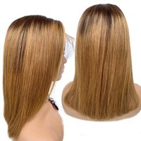 Lace Wigs Highlight Color Bob Wig Glueless Brazilian Straight Ombre Brown Honey Blonde Short Front Human Hair For Women Remy