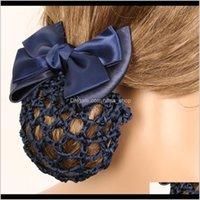 Wig Caps Aessórios Ferramentas Produtos Drop entrega 2021 Catin Bow Barrette Elegante Laço Floral Laço Oficial Lady Clip Capa de Capa de Tule Bowknot