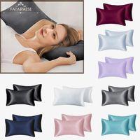 Stock 10 colores Funda de almohada de seda Inicio Hotel Travel Cómodo almohada Cubiertas de almohada de alta calidad. Entrega rápida