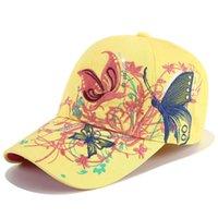 Han edição lantejoulas bordado boné de beisebol chapéu bordado pato pato labio imprime boom borboleta personalidade evitada se aquecer no chapéu de sol