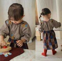 Sweet girls floral embroidery shirts kids plaid round collar long sleeve blouse autumn children lattice princess tops Q2146