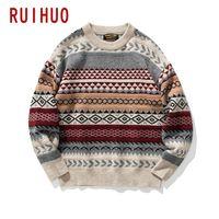 Ruihuo вязаный полосатый старинный свитер Мужская одежда Pullover Casual Knit M-2XL Весна прибытия
