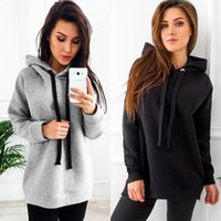 Women's Hoodies & Sweatshirts 2021 Autumn Black Gray Bandage Pullovers Womens Long Sleeve Hooded Loose Casual Warm Sweatshirt 2 Colors Plus
