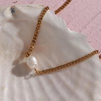 Chains 2021 Minimalist Natural Freshwater Pearl Pendant Cuban Link Chain Choker Necklace Stainless Steel Gold