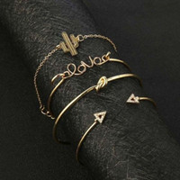 Charm Bracelets 4pc set European And American Jewelry Metal Color Ultra-fine Simple Style Daily Wear Four-piece Bracelet