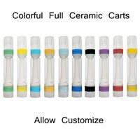다채로운 전체 세라믹 카트리지 팁에 스냅 Atomizer 510 스레드 vape 카트리지 폼 트레이 패키지 0.8ml 1.0ml 빈 일회용 기화기 펜