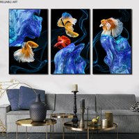Fish Koi Posters 3 Pieces Prints Canvas Painting Wall Art For Living Room Modern Home Decor Indoor Decorations Animal Pictures