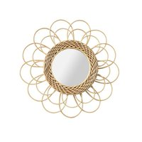 Rattan Mirror Round Hanging Makeup Art Decor Dressing Bathroom Decoration Boho Style Mirrors Frames