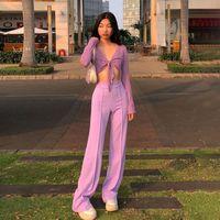 Women's Pants & Capris 2021 Summer Y2K Casual High Waist Solid Straight Loose Purple Long Fashion All-match Soft Streetwear Women Trousers
