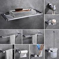 Accesorios de baño de cromo pulido Latón de 5 piezas Bañera de hardware Barra de toalla Conjunto de accesorios, soporte de cepillo de dientes Montado en la pared de metal