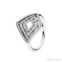 Pandora에 대한 925 스털링 실버 클리어 CZ 반지 기하학적 인 라인 반지 여성 소녀들이 럭셔리 디자이너 링 원래 상자