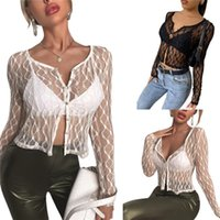 2021 Women's T-Shirt Mesh See Through Lace Button T Shirt Women Long Sleeve O- Neck Clothing Lady Fashion Slim Top Summer Solid Sexy